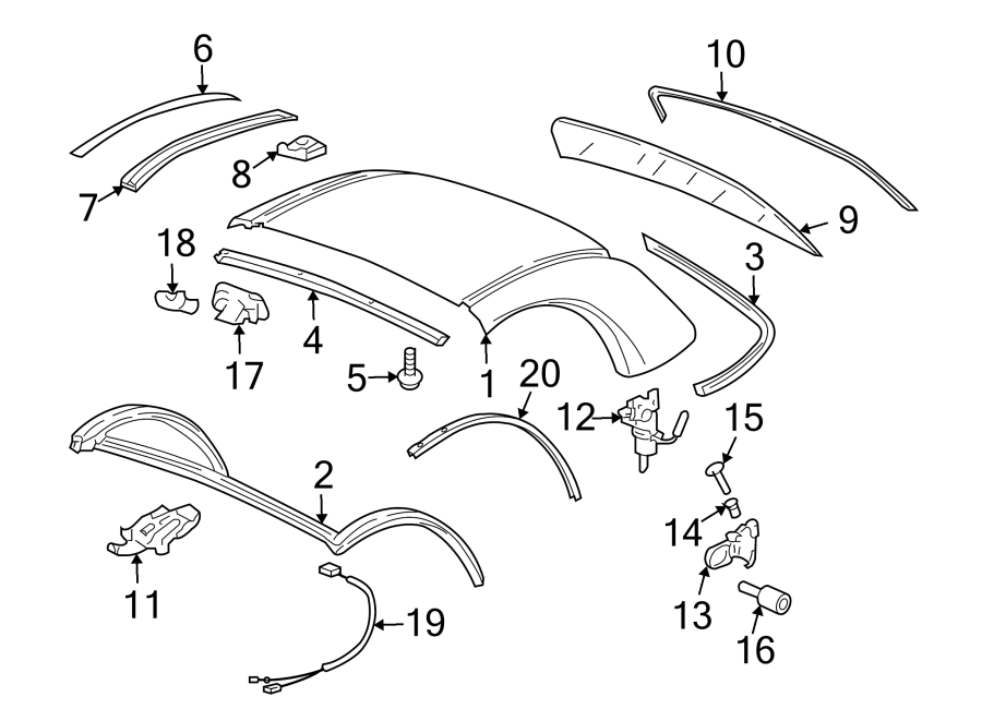Porsche Boxster Latch  Convertible  Top  Lock Pad  Catch