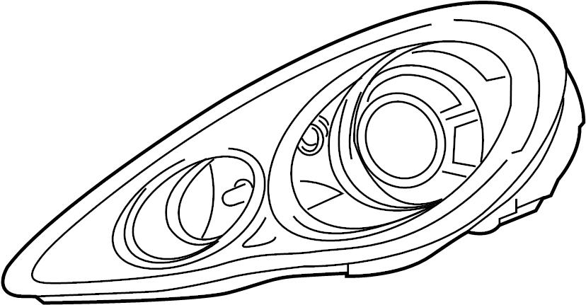 porsche panamera composite headlight  lens and amplifier  housing  w  directional beam  w  o